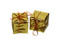 Two golden gift boxes isolated on white background Stock Images