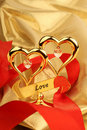 Two Golden heart Stock Images
