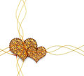 Two golden hearts decorative element with on a white background Stock Image