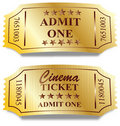 Two golden tickets Stock Photography