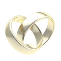 Two golden wedding rings isolated Royalty Free Stock Photo