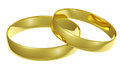 Two golden wedding rings isolated on white background Royalty Free Stock Photography
