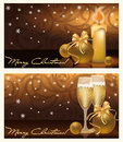 Two golden xmas banners Stock Photography
