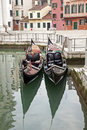 Two gondola in Venice at the pier Stock Photography