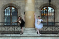 Two graceful ballerinas dancing in a palace Royalty Free Stock Photo