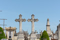 Two grave crosses side by side in cemetery in bordeaux fran graveyard Stock Images