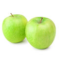 Two green apples over the white background Royalty Free Stock Photo