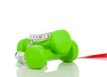 Two green dumbbells on a white background Stock Image