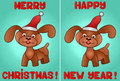 Two greeting cards with a dog Christmas and New Year