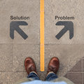 Two grey arrows with solution and problem Royalty Free Stock Photo