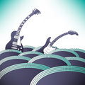 Two guitars swim in an ocean of music Royalty Free Stock Photo