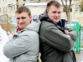 Two guys in jackets winter outdoor Royalty Free Stock Photography