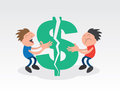 Two guys pulling apart dollar sign a large green Royalty Free Stock Image