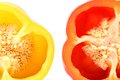 Two half of bell pepper whole background Royalty Free Stock Photography