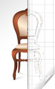 Two half french chair page draft page curl divided sketch line Stock Photos
