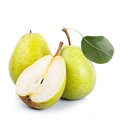 Two and a half green pears over white background Royalty Free Stock Photo