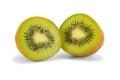 Two halves of kiwi fruit Royalty Free Stock Photo