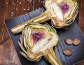 Two halves of ripe artichoke Royalty Free Stock Photo