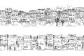 Two hand drawn seamless city banners of Asian cities Royalty Free Stock Photo