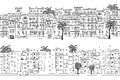Two hand drawn seamless city banners of Middle Eastern houses