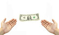 Two hand get  dollar bill Royalty Free Stock Photo