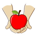 Two Hand Holding A Big Red Apple