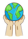 Two Hand Holding Planet Earth