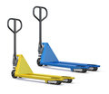 Two hand pallet trucks on a white background. 3D rendered image Royalty Free Stock Photo