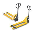 Two hand pallet trucks on a white background. 3D rendering Royalty Free Stock Photo