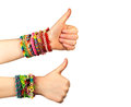 Two hand with trendy handmade weaving bracelets Royalty Free Stock Photo