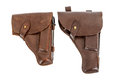Two handgun holsters isolated on white background Stock Image