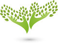 Two hands as a tree, plants, naturopath and wellness logo Royalty Free Stock Photo