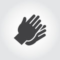 Two hands clapping in flat style. Graphic black icon - symbol of applause, praise, greeting. Gesturing human wrist logo
