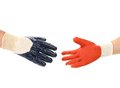 Two hands in gloves meet of hand shake isolated on a white background Stock Image
