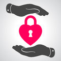Two hands hands with heart lock shape illustration icon Stock Photo
