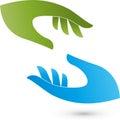 Two hands, helper and medicine logo