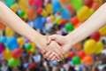 Two hands holding each other unity or celebration concept Royalty Free Stock Photos