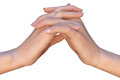 Two hands with interlaced fingers a closeup of a female that are touching each other palm to palm a woman is holding a palm of her Stock Image