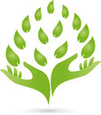 Two hands and leaves, naturopath and nature logo Royalty Free Stock Photo