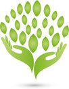 Two hands and leaves, naturopath and wellness logo