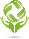 Two hands and leaves, plant, naturopath and wellness logo Royalty Free Stock Photo