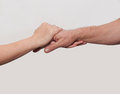Two hands old man and young Royalty Free Stock Photo