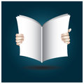 Two hands open the book to reading background Royalty Free Stock Photos