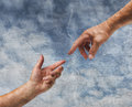 Two hands reaching old painting style Royalty Free Stock Images