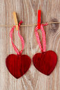 Two hanging hearts Stock Photography