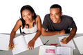 Two happy academic students studying together Royalty Free Stock Photo