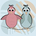 Two happy birds blue and pink in a textured background Stock Image