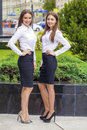 Two Happy Business women in white shirt Royalty Free Stock Photo