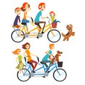 Two happy families riding on tandem bicycles with three seats and basket. Parenting concept. Recreation with kids