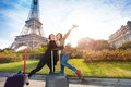Two happy friends meeting in Paris Royalty Free Stock Photo